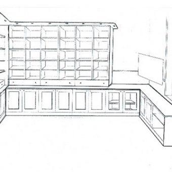Méretregyártott könyvesszekrény tervrajz